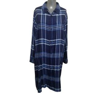 Denim 24/7 Navy Plaid Shirt Dress 3X